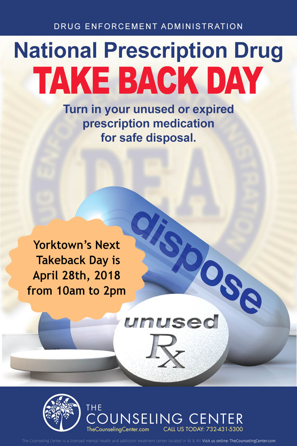 Yorktown Counseling Center encourages you to properly dispose of unused and unneeded medications.